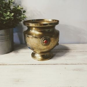 Vintage Brass Pot With Jewels